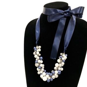 J. CREW blue satin ribbon pearl cluster necklace